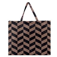 Chevron1 Black Marble & Brown Colored Pencil Zipper Large Tote Bag by trendistuff