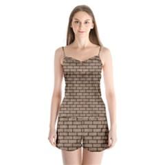 Brick1 Black Marble & Brown Colored Pencil (r) Satin Pajamas Set