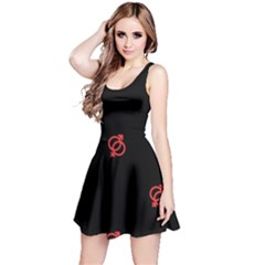 Seamless Pattern With Symbol Sex Men Women Black Background Glowing Red Black Sign Reversible Sleeveless Dress by Mariart