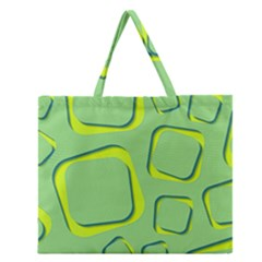 Shapes Green Lime Abstract Wallpaper Zipper Large Tote Bag by Mariart
