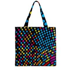 Polkadot Rainbow Colorful Polka Circle Line Light Grocery Tote Bag by Mariart