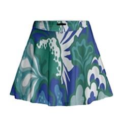 Tropics Leaf Bluegreen Mini Flare Skirt by Mariart