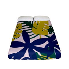 Tropics Leaf Yellow Green Blue Fitted Sheet (full/ Double Size) by Mariart