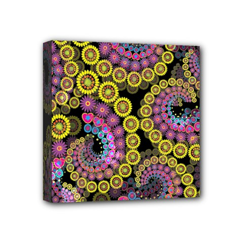 Spiral Floral Fractal Flower Star Sunflower Purple Yellow Mini Canvas 4  X 4  by Mariart