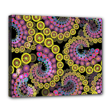 Spiral Floral Fractal Flower Star Sunflower Purple Yellow Deluxe Canvas 24  X 20   by Mariart