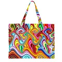Rainbow Gnarls Zipper Large Tote Bag by WolfepawFractals
