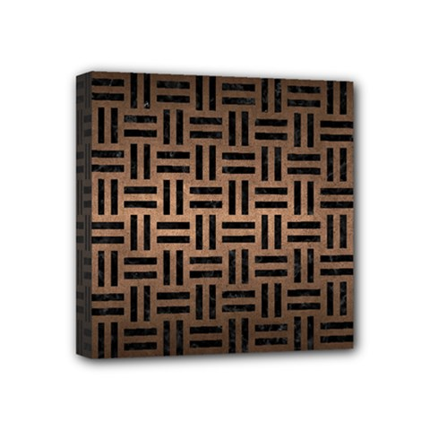 Woven1 Black Marble & Bronze Metal (r) Mini Canvas 4  X 4  (stretched) by trendistuff
