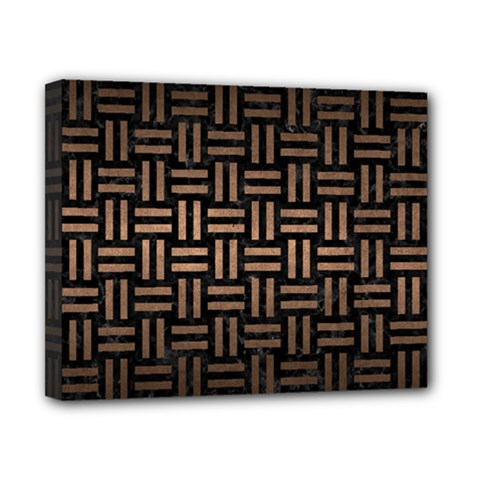 Woven1 Black Marble & Bronze Metal Canvas 10  X 8  (stretched) by trendistuff