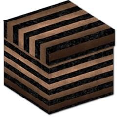 Stripes2 Black Marble & Bronze Metal Storage Stool 12  by trendistuff