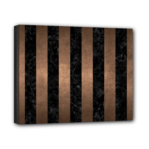 Stripes1 Black Marble & Bronze Metal Canvas 10  X 8  (stretched) by trendistuff