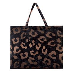 Skin5 Black Marble & Bronze Metal (r) Zipper Large Tote Bag by trendistuff