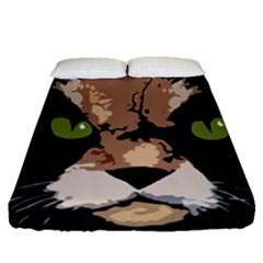 Cat  Fitted Sheet (queen Size) by Valentinaart