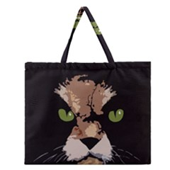 Cat  Zipper Large Tote Bag by Valentinaart