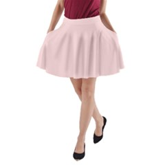 Blush Pink A Line Pocket Skirt by SimplyColor