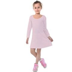 Blush Pink Kids  Long Sleeve Velvet Dress by SimplyColor