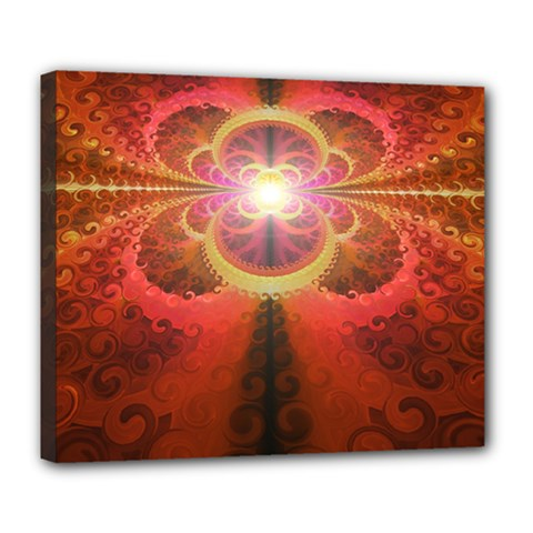 Liquid Sunset, A Beautiful Fractal Burst Of Fiery Colors Deluxe Canvas 24  X 20   by jayaprime