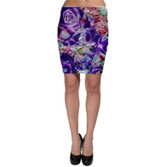 Floral Chrome 01a Bodycon Skirt by MoreColorsinLife