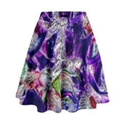 Floral Chrome 01a High Waist Skirt by MoreColorsinLife