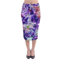 Floral Chrome 01a Velvet Midi Pencil Skirt by MoreColorsinLife