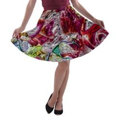 Floral Chrome 01c A Line Skater Skirt by MoreColorsinLife