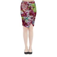 Floral Chrome 01c Midi Wrap Pencil Skirt by MoreColorsinLife