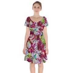 Floral Chrome 01c Short Sleeve Bardot Dress by MoreColorsinLife