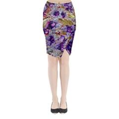 Floral Chrome 2b Midi Wrap Pencil Skirt by MoreColorsinLife