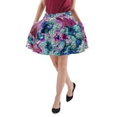 Floral Chrome 2c A Line Pocket Skirt by MoreColorsinLife