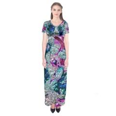 Floral Chrome 2c Short Sleeve Maxi Dress by MoreColorsinLife