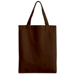 Brown Hide Solid Color  Zipper Classic Tote Bag by SimplyColor