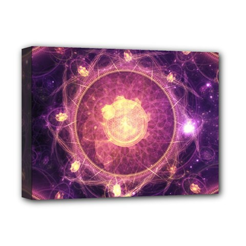 A Gold And Royal Purple Fractal Map Of The Stars Deluxe Canvas 16  X 12   by beautifulfractals
