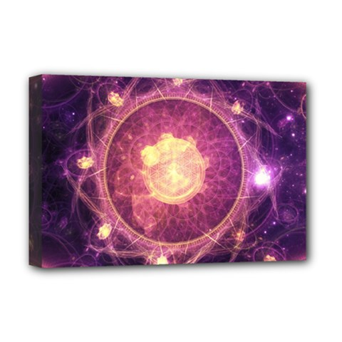 A Gold And Royal Purple Fractal Map Of The Stars Deluxe Canvas 18  X 12   by beautifulfractals