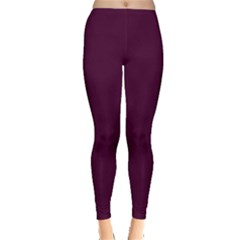 Black Cherry Solid Color Leggings  by SimplyColor