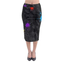 Black Camo Shot Spot Paint Midi Pencil Skirt by Mariart