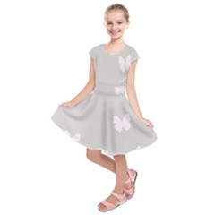 Butterfly Silhouette Organic Prints Linen Metallic Synthetic Wall Pink Kids  Short Sleeve Dress by Mariart