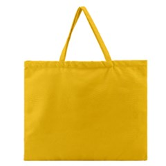 Amber Solid Color  Zipper Large Tote Bag by SimplyColor