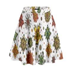 Flower Floral Sunflower Rose Pattern Base High Waist Skirt by Mariart
