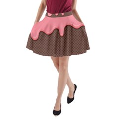 Ice Cream Pink Choholate Plaid Chevron A Line Pocket Skirt by Mariart