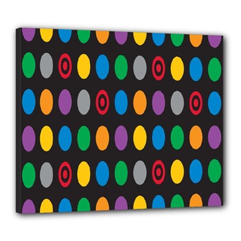 Polka Dots Rainbow Circle Canvas 24  X 20  by Mariart
