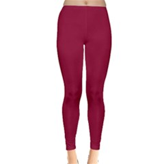 Burgundy Solid Color  Leggings  by SimplyColor