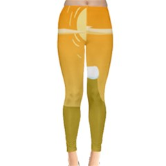 Sunrise Sunset Desert Sun Light Orange Ice Snow Leggings  by Mariart
