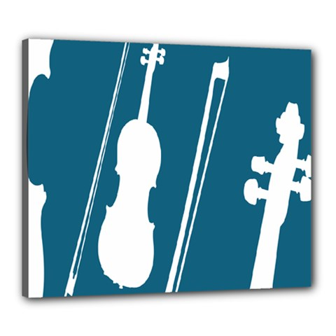 Violin Music Blue Canvas 24  X 20  by Mariart