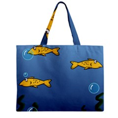 Water Bubbles Fish Seaworld Blue Mini Tote Bag by Mariart