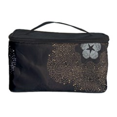 Walls Medallion Floral Grey Polka Cosmetic Storage Case by Mariart
