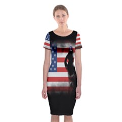Honor Our Heroes On Memorial Day Classic Short Sleeve Midi Dress by Catifornia
