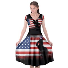 Honor Our Heroes On Memorial Day Cap Sleeve Wrap Front Dress by Catifornia