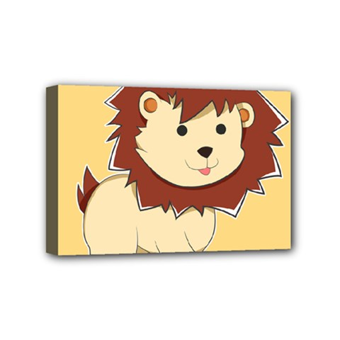 Happy Cartoon Baby Lion Mini Canvas 6  X 4  by Catifornia
