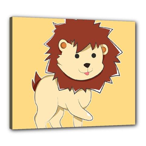 Happy Cartoon Baby Lion Canvas 24  X 20  by Catifornia