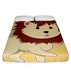 Happy Cartoon Baby Lion Fitted Sheet (king Size) by Catifornia