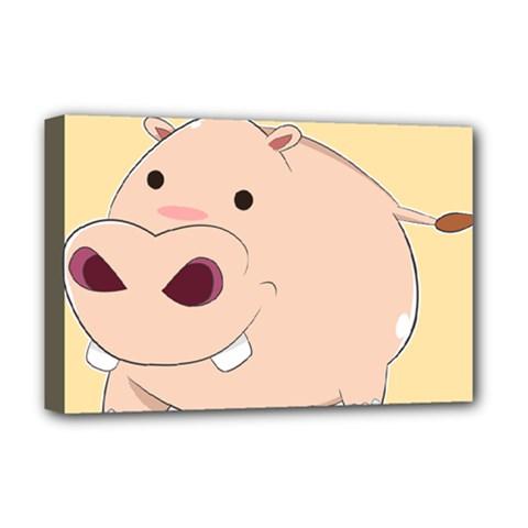 Happy Cartoon Baby Hippo Deluxe Canvas 18  X 12   by Catifornia